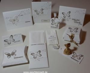 Stampin up, Wedding, Hochzeit, Butterflys, Schmetterlinge, Watercolor Wings, Invitation, Goodies, Dekoration, Tischkarte, Meükarte