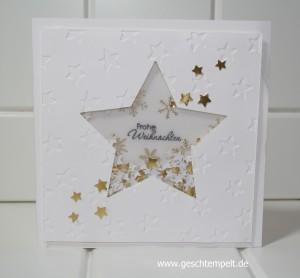 Stampin up, Schüttelkarte, Shaker, Weihnachten, Sterne, Sternkonfetti, Weihnachten 2015, Christmas