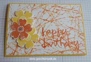 Murmel-Technik, Anleitung in Bildern, Tutorial, Stampin up, Flower Shop, Watercolor Words