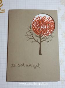 Stampin up, Sheltering Tree, Baum der Freundschaft, Spotlight Technique, Spothlight Technik, Anleitung in Bildern, Tutorial