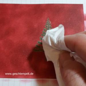 Stampin up, embossing resist Technique, Tutorial, Anleitung in Bilder, Christbaumfestival, Weihnachtliche Grußworte