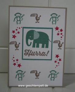 Stampin up, Zoo Babies, Paarweise, Be the Star, Sag´s mit Fähnchen