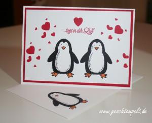 Stampin up, Valentins Karte, Es schneit, Blüten der Liebe, Perpetual Birthday Calendar, Pinguine, Valentines Day