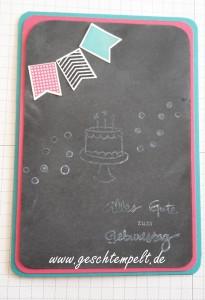 Stampin up, Chalkboard Technique, Tutorial, Anleitung in Bildern, Geburtstagspuzzle, Sag´s mit Fähnchen