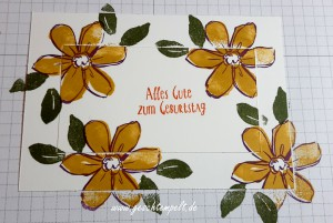 Stampin up, Double Layer Technik, Anleitung in Bildern, Technique, Tutorial, Garden in Bloom, Erfreuliche Ereignisse