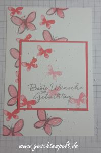 Stampin up, Garden in bloom, Malerische Grüße, Goldstaub Technik, Anleitung in Bildern, Tutorial, Flamiingorot