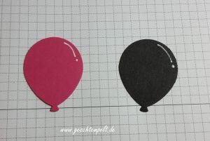 Stampin up, Technik Sonntag, Partyballons, Designer Grußelemente, Glowing Lights Technik, Anleitung in Bildern, Tutorial, Pink mit Pep