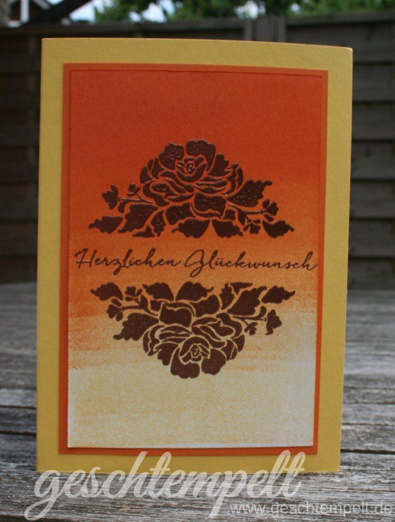 Stampin up, Schwammwalze, Kupfer, Florale Grüße, Floral Phrases, Anleitung in Bildern, Tutorial, Ombree Technik, Ombre Technique