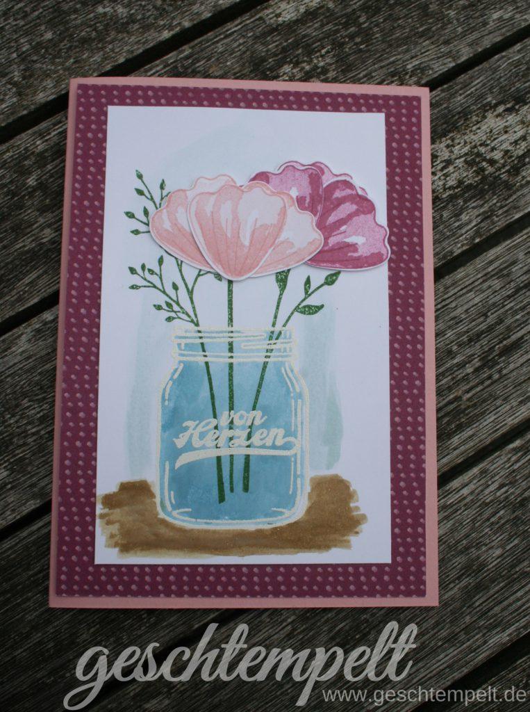Stampin up, Glasklare Grüße, Jar of love, Das blühende Leben, Bunch of Blossoms