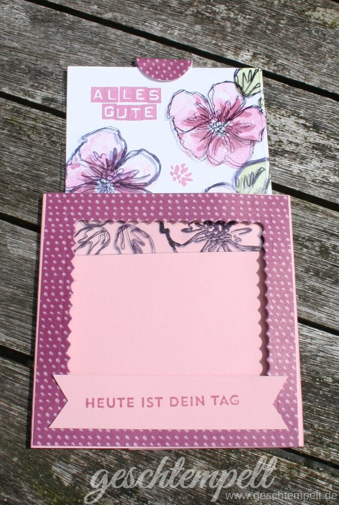 Stampi up, Magic Card, Anleitung in Bildern, Tutorial, Technik-Sonntag, Penned & Painted, Labeler Alphabet, Sonnengruß, Sunburst Sayings