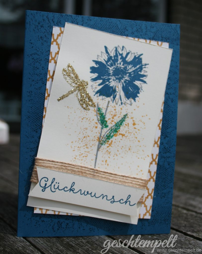 Stampin up, Verwendung von Stampin Glitter, Anleitung in Bildern, Tutorial, Touches of Texture, Landlust, Cottage Greetings