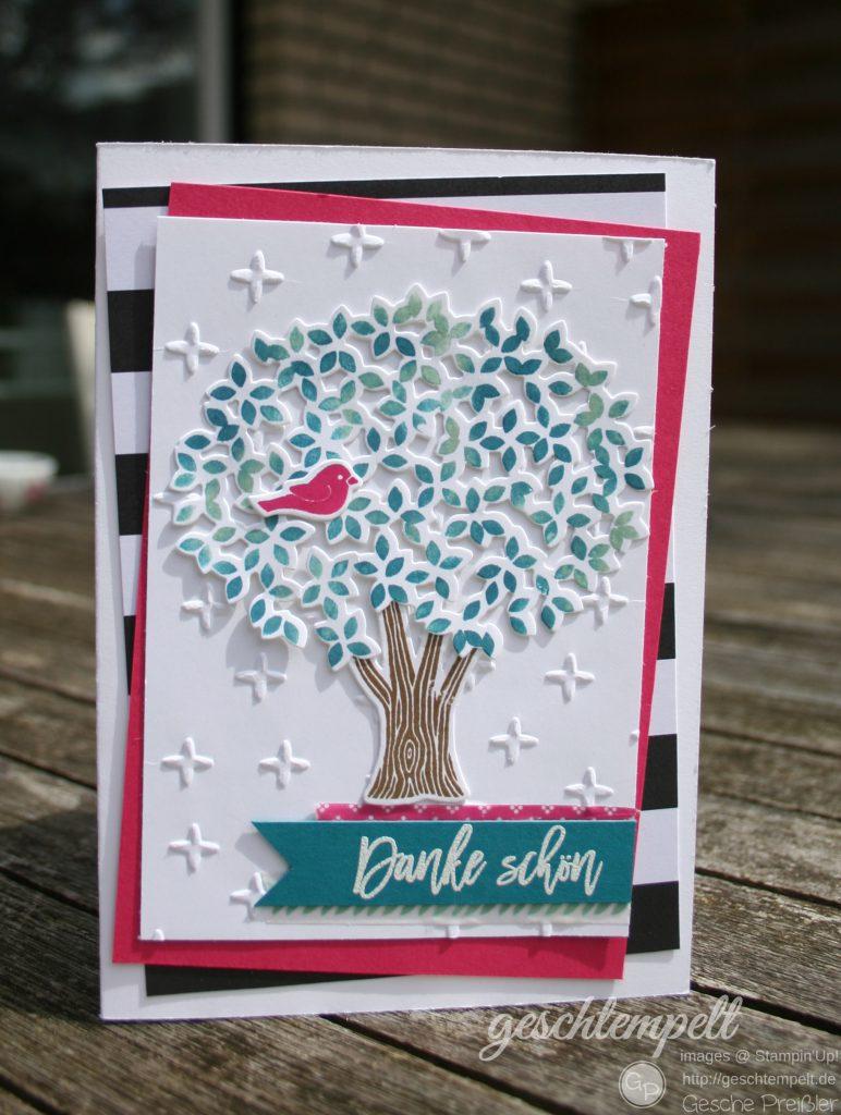 Blatt und Blüte, stampin up, Thoughtful Branches, Wald der Worte. Pink mit Pep, Pop of Pink, Funkelsterne, Sparkle