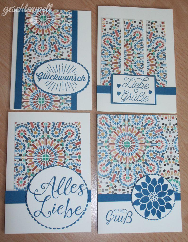 Stampin Up, One Sheet wonder, Designerpapier Marokko, Donnerwetter, Grüße rund ums Jahr, Im Herzen, Zum Dank, Blühende Worte, Designer Grußelemente, Florale Grüße