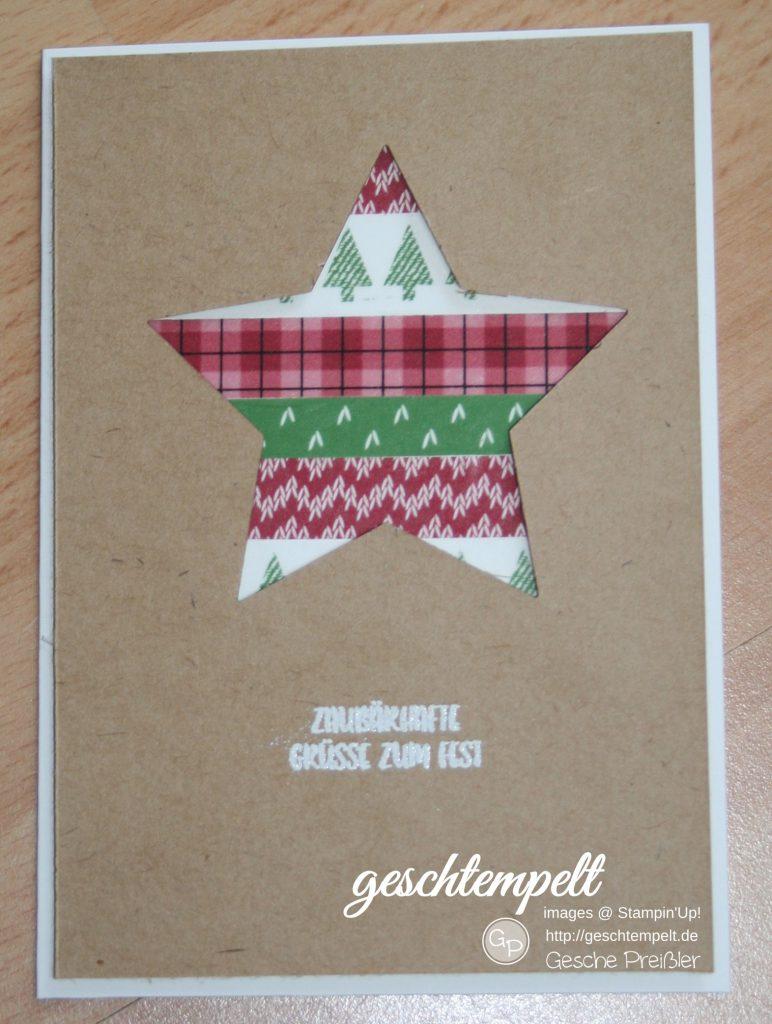 Stampin up, gemütliche Weihnachten, Stern, ausgestochen Weihnachtlich