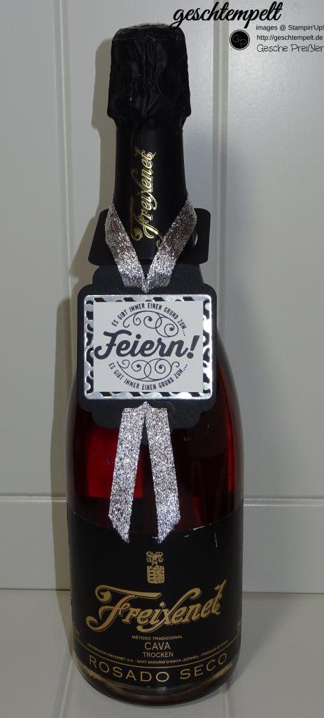 Stampin Up, Flaschenanhänger, Silvester, Nette Etiketten, einfach Angehängt, Silber, Glitzer